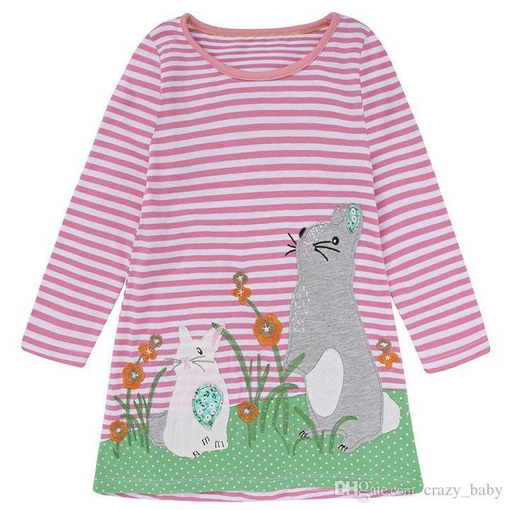 Children Girl Clothing Cartoon cat embroidery Children's Clothing Girls Dress pink stripe Kids Dresses for Girls Clothing Princess Costume