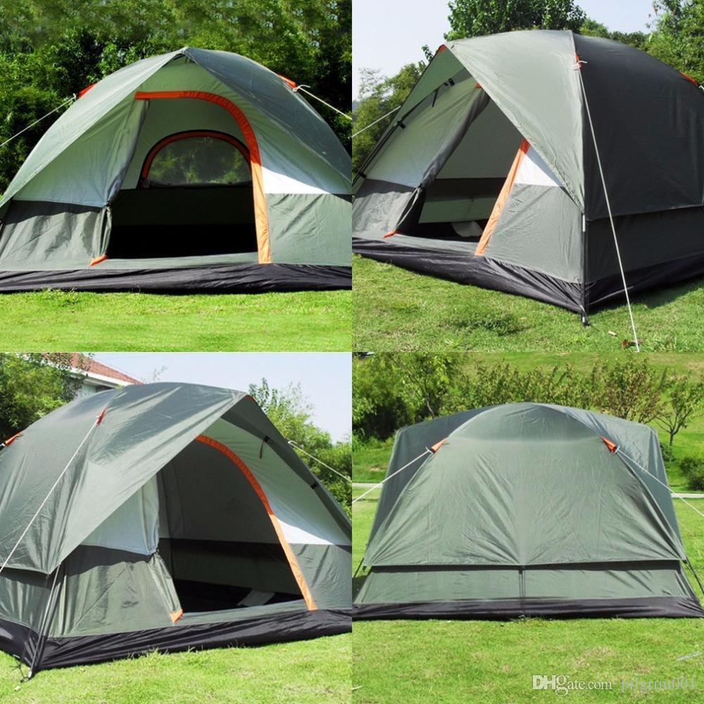 dc23eef32dc15 Acheter 3 4 Personne Coupe Vent Camping Tente Double Couche Étanche Pop Up  Ouvert Anti UV Tentes De Tourisme Pour Randonnée En Plein Air Plage Voyage  Tienda ...