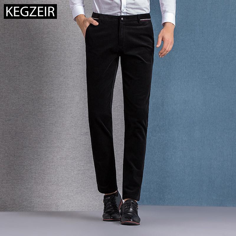 vendita calda online dd102 91e05 Pantaloni di velluto a coste invernali KEGZEIR Uomo Zipper dritto Pantaloni  casual da uomo Stretch Pantaloni caldi per uomo Abbigliamento di marca ...