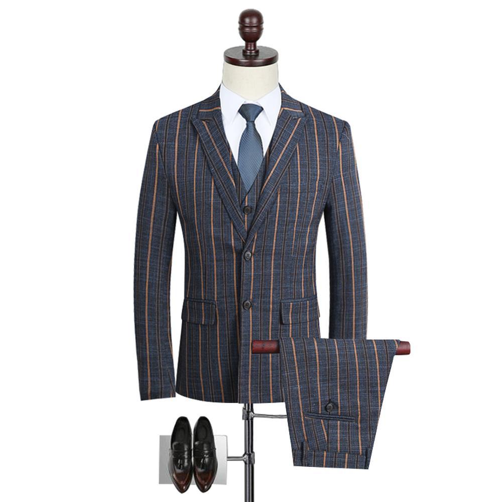 a2e8f71ea96 2019 Men Suit 2018 Slim Striped Wedding Dress Suits Male Long Sleeve ...
