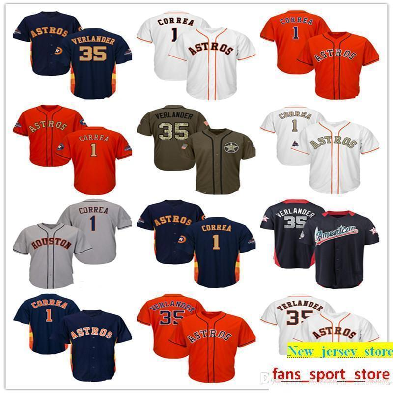 detailed look 71352 e1191 Men Women Youth Astros Jerseys 1 Correa 35 Verlander Jerseys White Gray  Navy Blue Orange Gold Salute to Service Players Weekend All Star