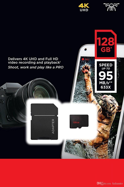 2018 베스트 셀러 블랙 / 화이트 안드로이드 32GB 64GB 128GB 클래스 10 무료 SD 어댑터 소매 블리스 터 패키지 Epacket DHL 무료 배송