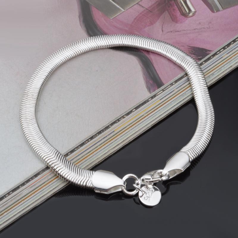 6 ملليمتر واسعة الأفعى سلسلة فضة أساور أساور للنساء أنيقة الفضة ربط سلسلة سوار الإناث هدية الزفاف