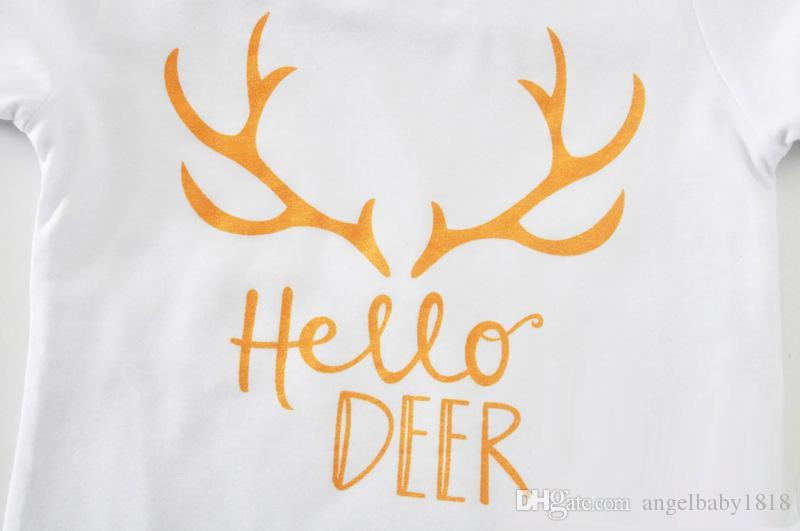 Baby Girls Xmas Deer Lettera oro punto T-shirt top Pantaloni Mezza calzamaglia oro Bow fasce Baby Outfits Set bianco