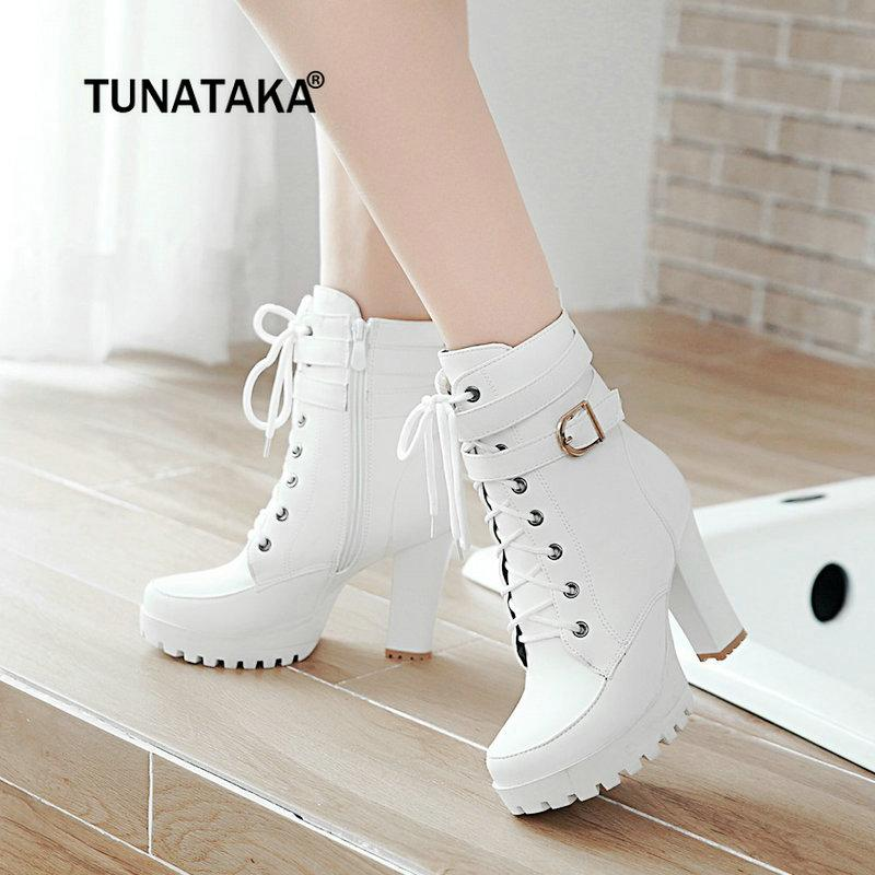 7014a58315b Women Fashion Combat Boots Chunky High Heel Ankle Boots Lace Up Side Zipper  Winter Shoes Woman