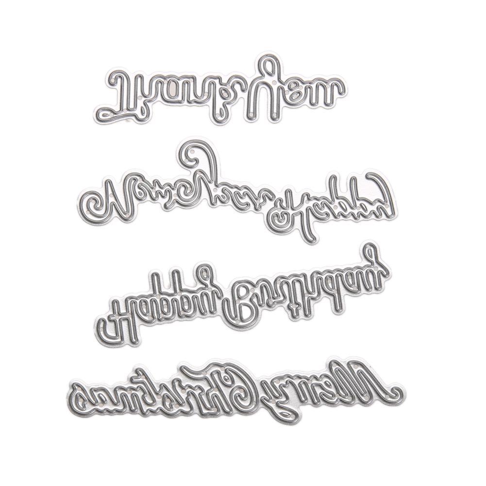Frohe Weihnachten Schablone.Grosshandel 4 Stucke Frohe Weihnachten Metall Stanzformen Schablone Fur Scrapbooking Stanzungen Diy Metall Stanzformen Karten Handwerk Von Bf Home