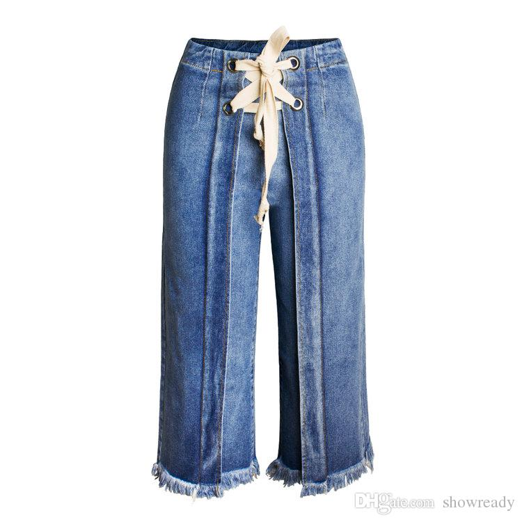Europe and the United States new loose hair to be seven points casual ladies jeans fashion fringe wide leg jeans women