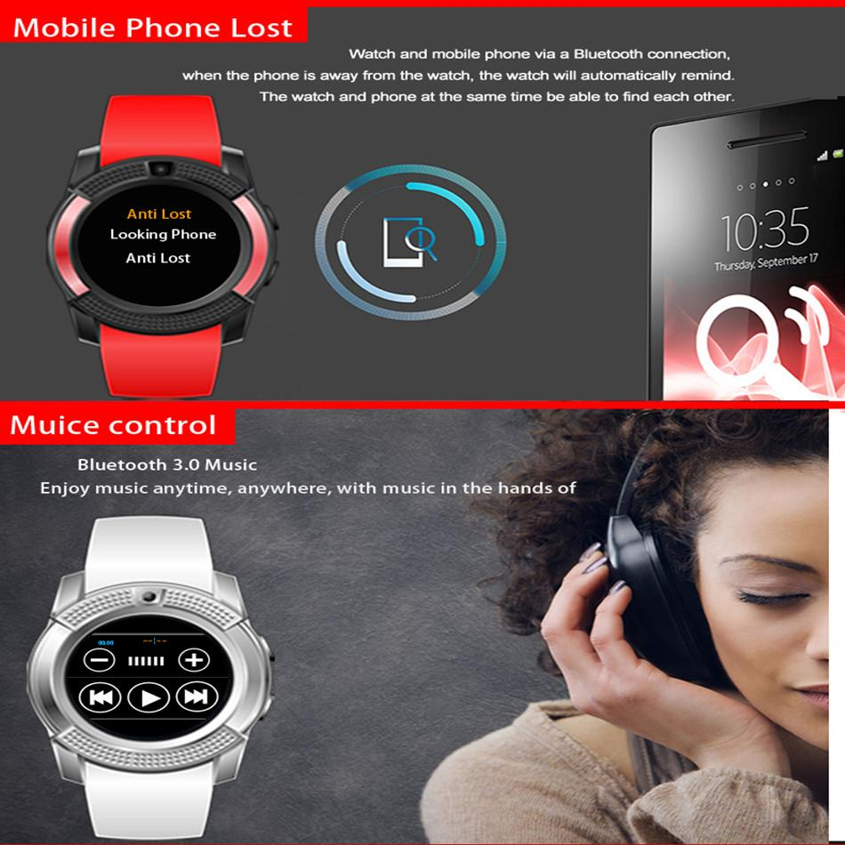 V8 Bluetooth Smart Watch 1.22 inch Round Screen Support SIM / TF Card Camera SmartWatch for Samsung Huawei Android Smartphone