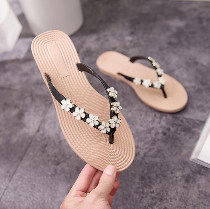 PLUS BIG SIZE:35-41 HOT SALE Floral Metal Beach Women Shoes Slippers Summer Flip Flops Flat Shoes For Ladies