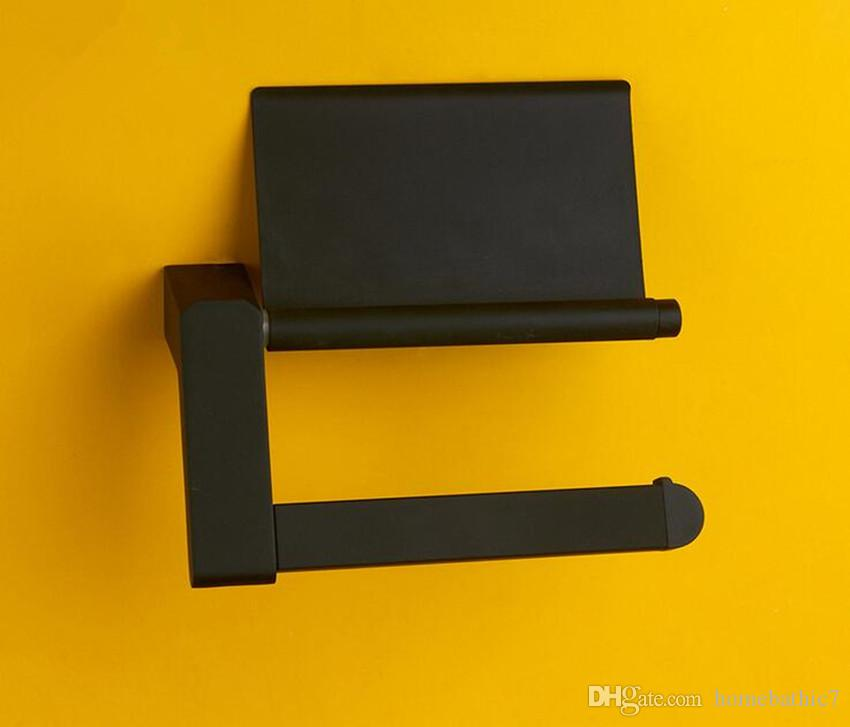 Luxury New Antique Black Color Toilet Paper Holder Roll Tissue Bar With Cover Stainless Steel Material