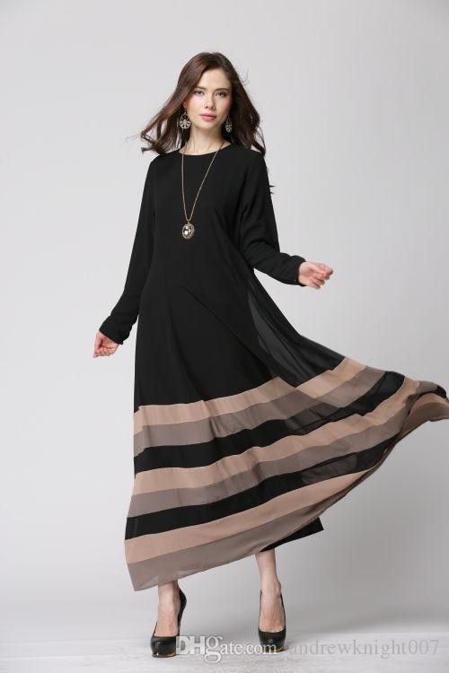 Dropshipping Le donne a strisce Retro abito caftano Abaya Jilbab islamica musulmana manica lunga maxi vestito DK728MZ spedizione gratuita