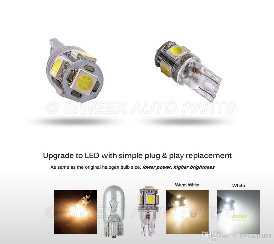 W5W T10 5SMD 5050 Car LED Bulb License Plate Truck Lamp Dome Door Side Marker Light Warm white White 24V