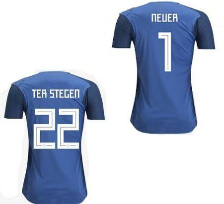 san francisco 33420 3de28 High Quality Camiseta de futbol Maillot de Foot world cup 2018 national  team jerseys Manuel Neuer Ter Stegen Blue goalkeeper Soccer Jerseys