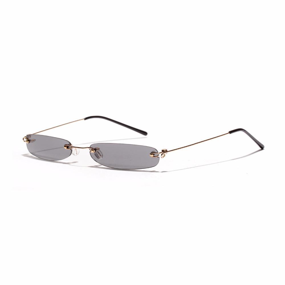 e37cfd3a27142 Compre 2018 Retângulo Sem Aro Óculos De Sol Das Mulheres Dos Homens  Designer De Marca Pequena Armação De Óculos Para O Sexo Masculino Lente Do  Oceano Sombra ...