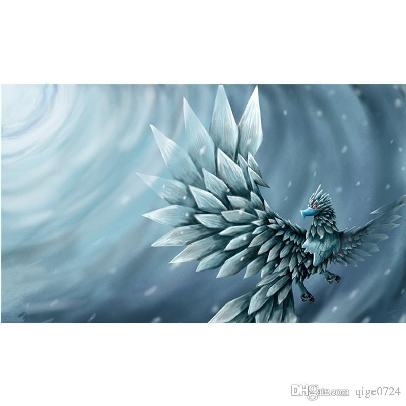 5d diy full square diamond painting accessories home decoration handmade embroidery craft wallpaper painting ice phoenix