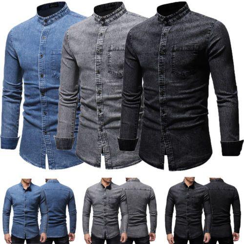 2019 2019 New Fashion Denim Shirt Men Casual Shirt Slim Fit Long