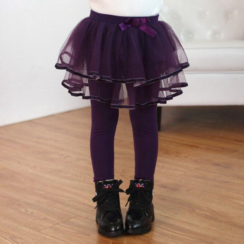 COOTELILI 80-130cm Lace Tutu Skirt Leggings Girls Winter Fleece Velvet Children's Pants Kids Trousers Purple Black