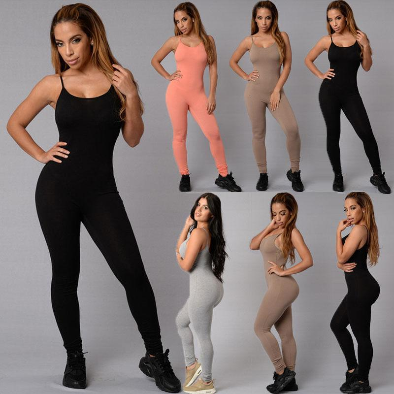 526444bc4dd6 2019 Sexy Women Casual Pure Color Spaghetti Straps Sleeveless Bodycon  Romper Jumpsuit Club Bodysuit Long Pants From Vikey10