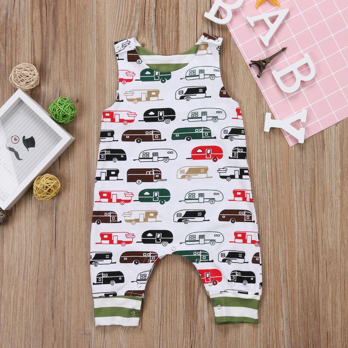 09b621c87d33 2019 Summer Baby Boy Girl Toddler Cartoon Bus Jumpsuit Sleeveless ...