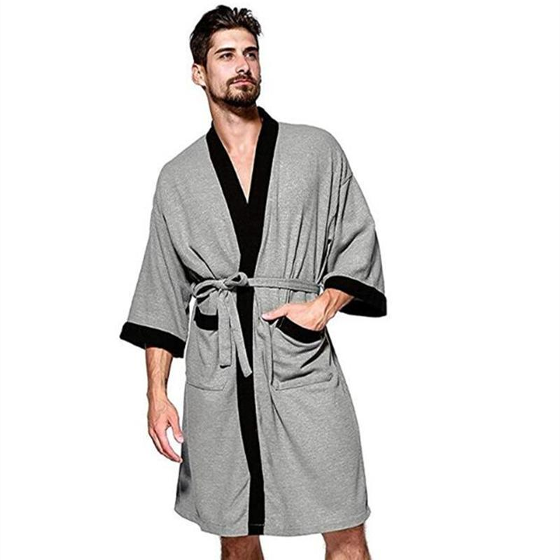 2019 Men S Waffle Weave Kimono Robe Cotton Spa Bathrobe Lightweight Soft  Knee Length Sleepwear From Bunnier 991fa0412