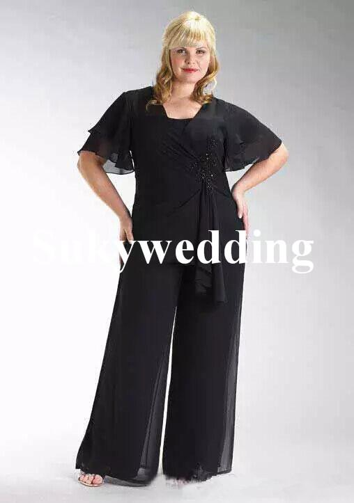 Más el tamaño de gasa madre de la novia se adapta a dos pedazos de las bragas de encaje Negro cintura moldeada huésped de la boda vestidos por encargo