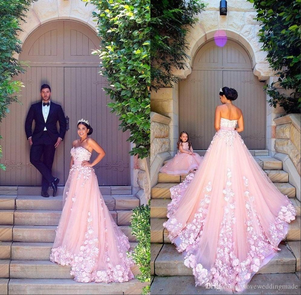 15d143ad46d Discount 2017 Sweet Pink A Line Wedding Dresses With Flower Girls Dresses  Match Sweetheart Tulle 3D Floral Applique Bridal Gown Dubai Arab Cheap Gowns  Cheap ...