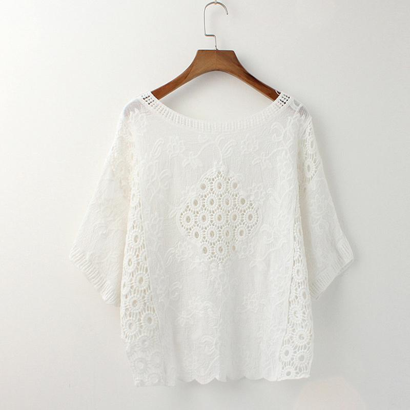 2018 Women Blouse Crochet Lace Tops Batwing Sleeve Round Neck Loose