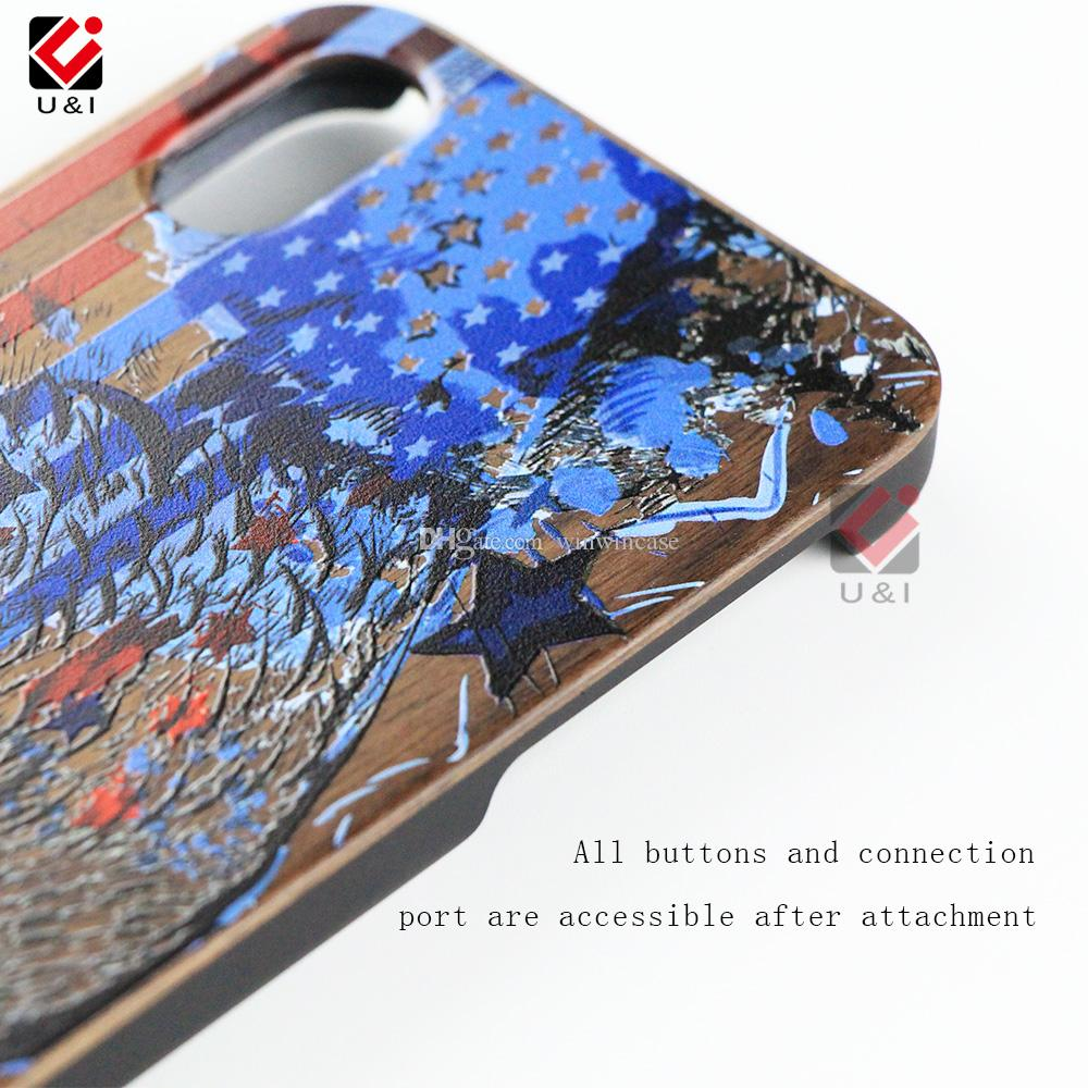 Charming print wood cell phone cases for iPhone x hybrid animal laser engrave luxury back cover for i Phone 10 6 7 8