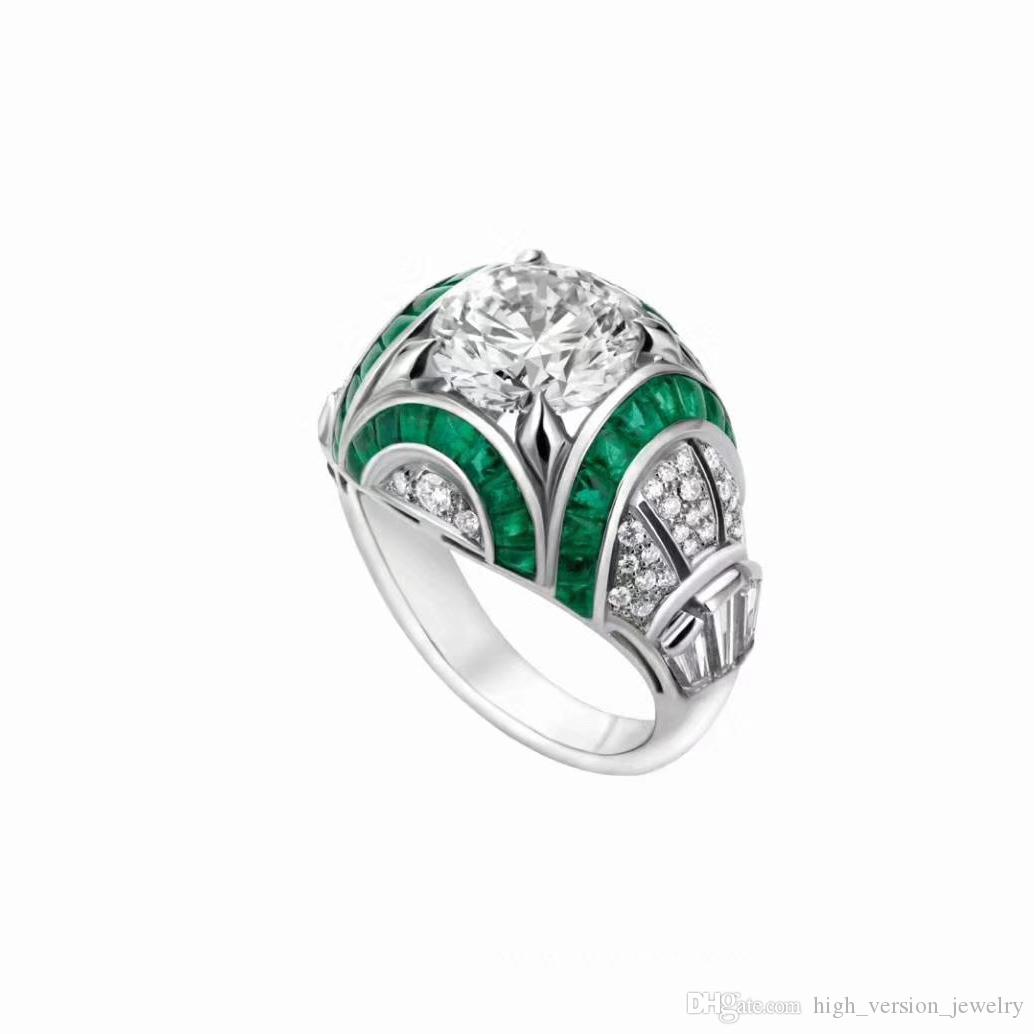 engagement diamond ring set emerald rings cathedral cut channel product