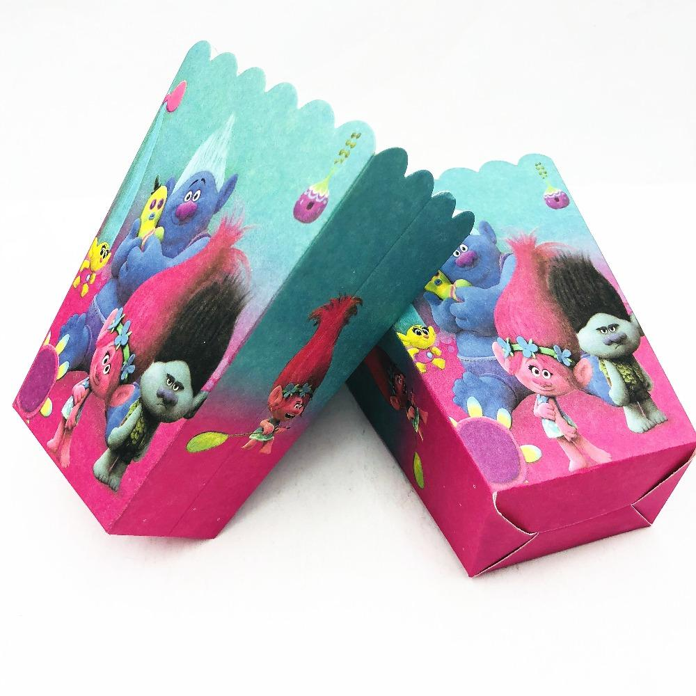 Trolls Themed Baby Shower Party Popcorn Holders Christmas 1st Birthday Decorations Supplies Plastic Tubs Paper Gift Boxes