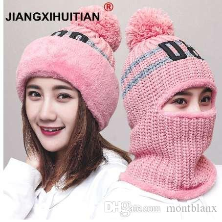 New Knit Lining Winter Hats Women Warm Fur Pom Pom Cap Skullies   Knit Hats  For Women High Quality Girls Hats Beanie Hat Headwear Beanies For Men From  ... 0792bef4f