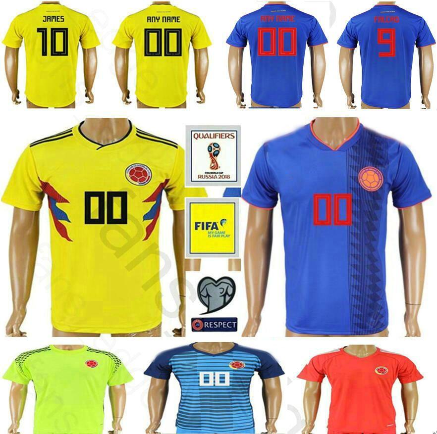 ce465a86c ... ireland 2018 2018 world cup colombia soccer jersey 9 falcao 10 james 23  sanchez 24 tesillo