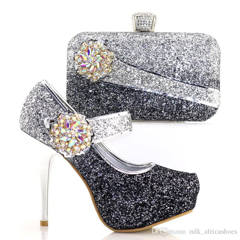 Wedding Shoes with Matching Bags 12cm High Heels Platform Shoes Woman Party  Dress Shoe And Bag Set African Shoes And Bags Set Italian Shoes And Bag Set  ... 608143b66826