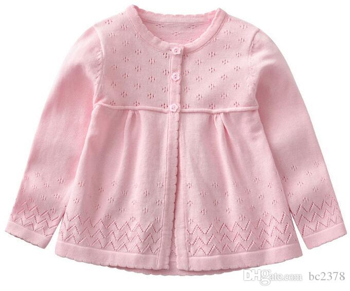 Pink Girl Cardigan Children Sweater Three Flower Buttons Sweet Hollow Choice Great Quality Combed Cotton Wovening
