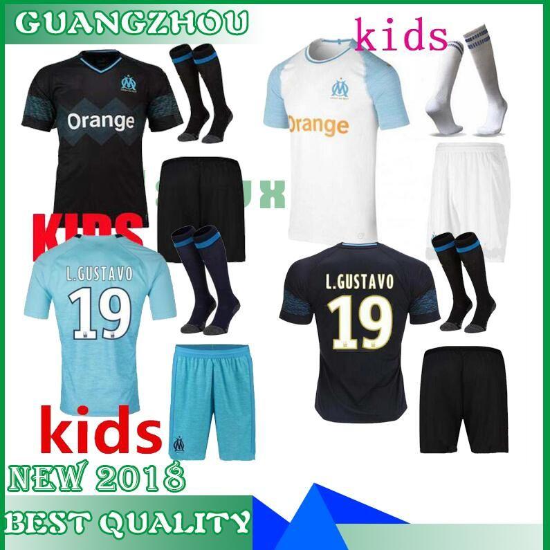 Compre 18 19 Marsella Niños Conjunto Camiseta De Fútbol Azul Blanco Negro  Marsella Camiseta De Fútbol 1819 Niños Olympique Hogar Lejos Niños Y Niñas  ... 8b12d29bb14f3