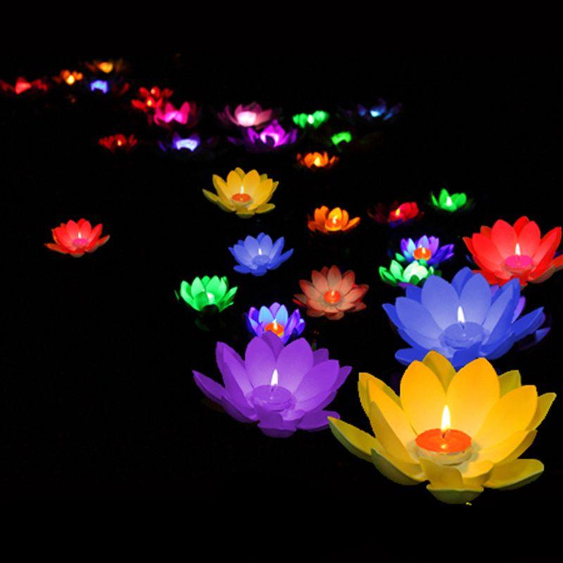 10pcs flottant Lotus lumière piscine étang jardin eau fleur lampe avec ...