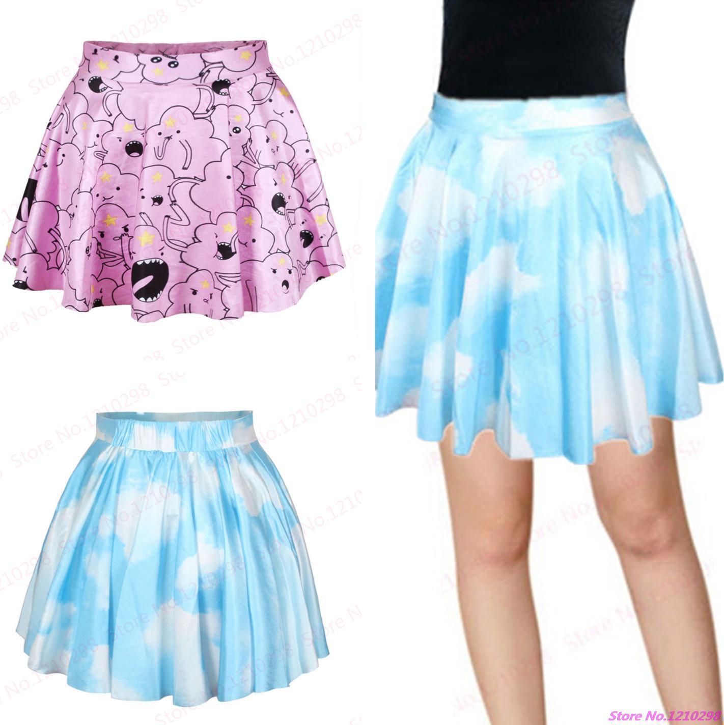 b5d07733f 2019 Wholesale Hot Sale Blue Clouds Sky Mini Skirt 3D Printed Pastel Clouds Women  Pleated Skirts Leisure Sports Slim Kilts Femininas Saias From Masn, ...