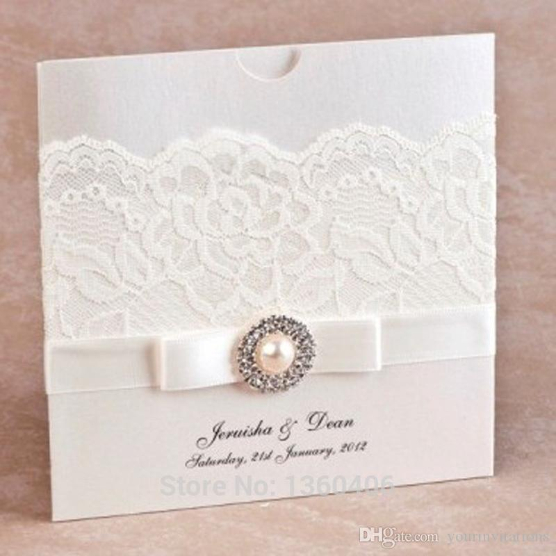 factory Direct Sale Elegant Lace Wedding Invitations Square Bi Fold