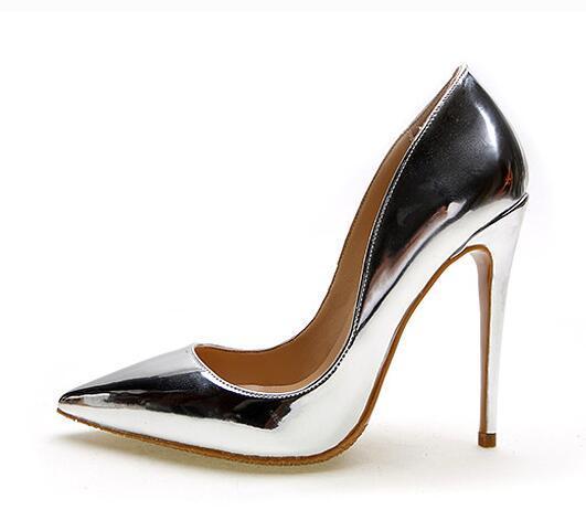 5d6bda84e96a42 Acheter Top Marque 12 Cm Haute Talons Argent Chaussures De Mariage Femmes  Pompes En Cuir Verni Mode Femmes Chaussures De Mariée Sexy Stileto Talon  Pompes ...