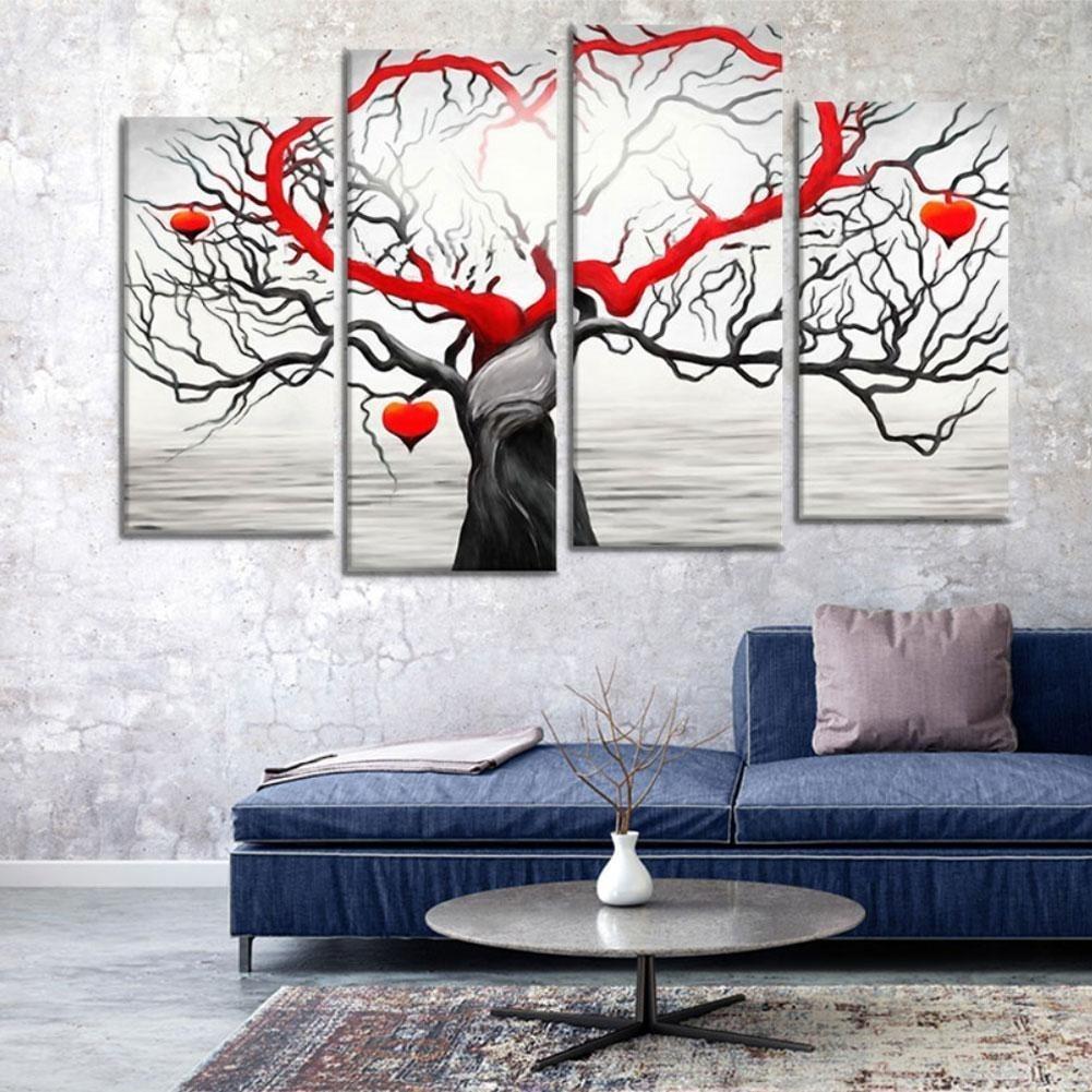 Satın Al 4 Adet Takım Tuval Duvar Sanatı Baskı Soyut Aşk Ağacı