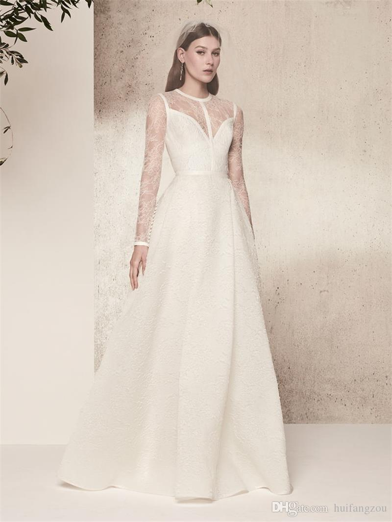 Elie Saab Vintage Wedding Dresses Plus Size With Sleeves Sheer Lace Top Quality Satin Bridal Gowns Floor Length Simple Beach Wedding Dress
