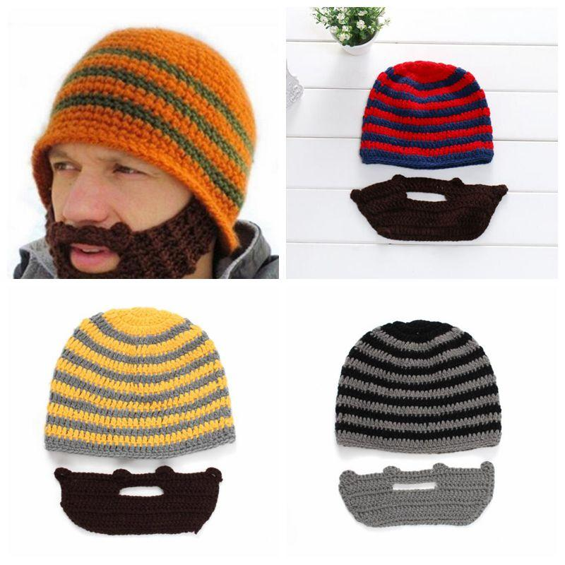 ace11442c86 Skull Caps Bearded Knitted Hats Beard Knitted Hat Warmer Ski Bike Skull Hat  Unisex Beard Outdoor Cap Party Hats CCA10753 Fitted Caps Knit Hats From ...