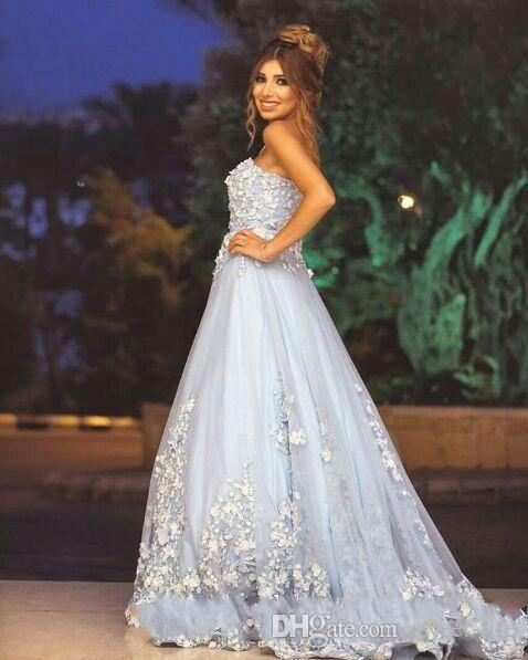 Ziad Nakad Очаровательные 3D цветочные Голубые аппликации Длинные вечерние платья 2019 цветок ручной работы Милая бальное платье Кружевное платье для выпускного вечера