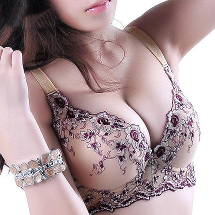 a39bcc0b588c5 2019 Embroidery Deep V Push Up Brs For Women Big Size Plus 75 100 C D E Cup  Bras Sexy Lingerie Underwear For Young Girl Boost 3370 From Watchlove