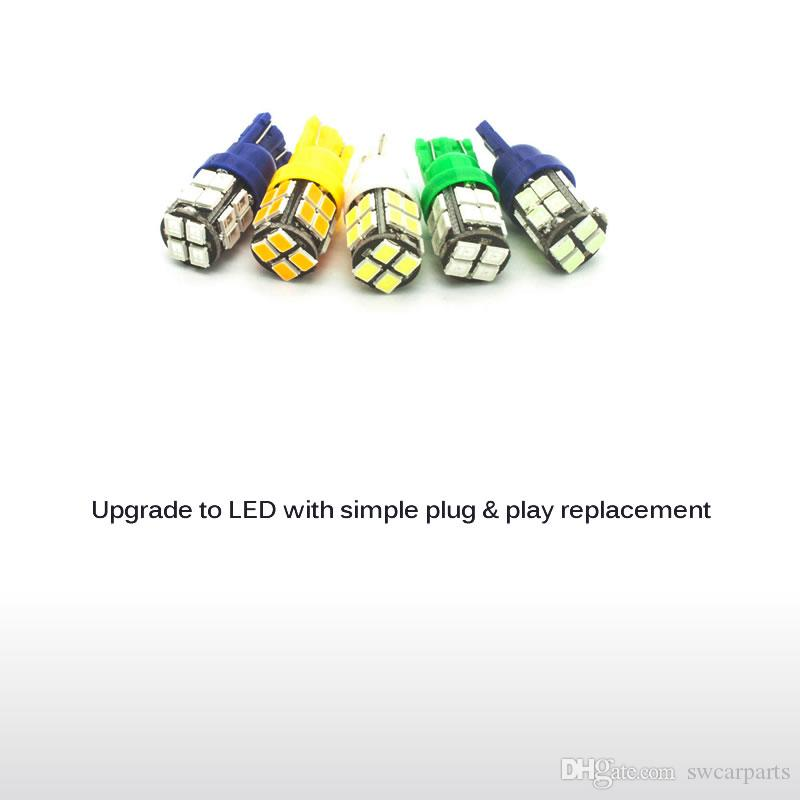 W5W T10 Car LED Bulb 20SMD 2835 168 194 Side Marker Lights Map Turn Signal Lamp White/Blue/Yellowamber/Green/Ice Blue/Red