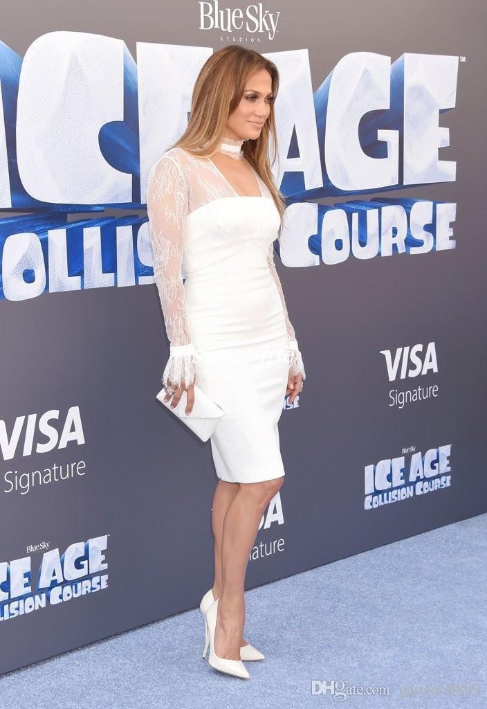 White Sheath Cocktail Dress Celebrity Dresses Halter Neck Sheer Long Sleeves Lace Sheath Knee Length Cheap Women Formal Wear Party