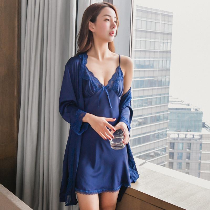 ecccc0f790 Bata azul Conjunto camisón de encaje Ropa para el hogar Ropa interior  íntima Satén Kimono Bata de baño Vestido de señora Camisa de dormir Camisón  atractivo ...