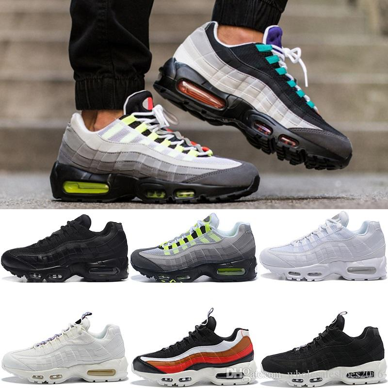 reputable site 9550e 16cc8 Men Designer 95 Running Shoes What The OG Grape Neon TT Black Red 95s Mens  Trainers Sports Sneakers Size 7-11