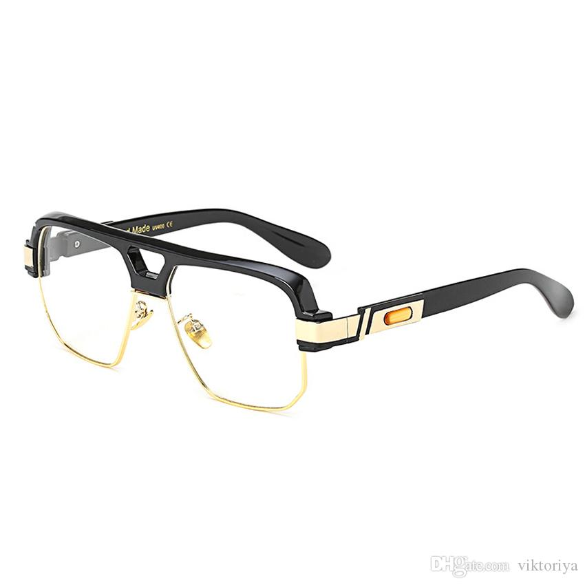 2018 Semi Rimless Square Fake Eye Glasses Frames For Men Clear ...