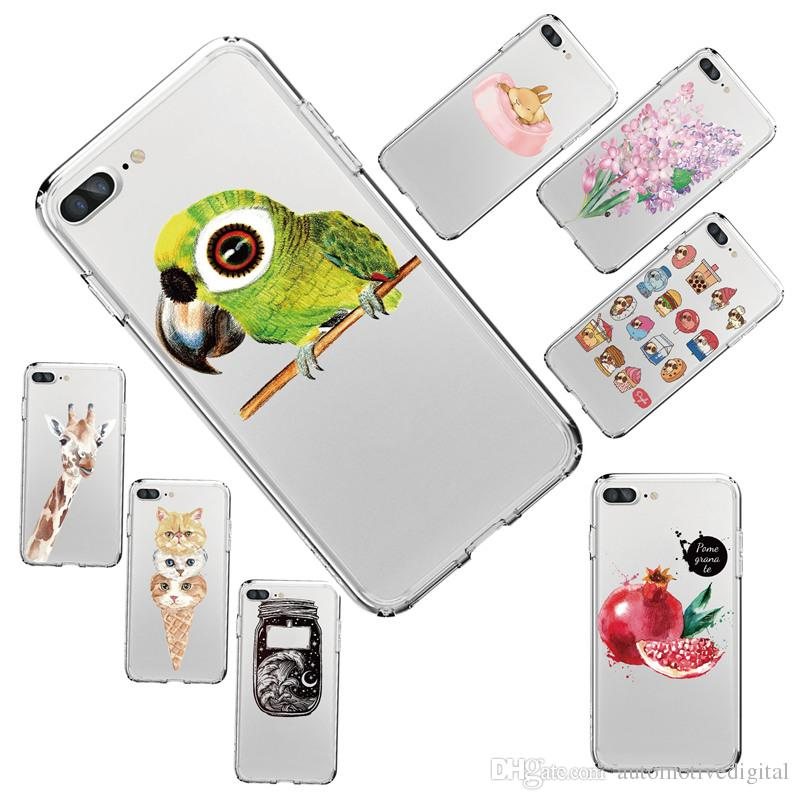 For iPhone X 8/7 8PLUS/7PLUS Phone Bird owl Giraffe Pattern Soft Silicon Mobile Phone Bag
